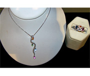 Multicolored sapphire necklace & ring