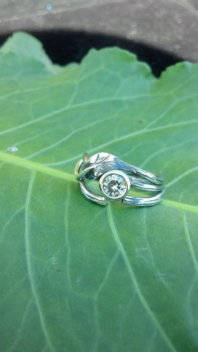 Silver Diamond Engagment Ring